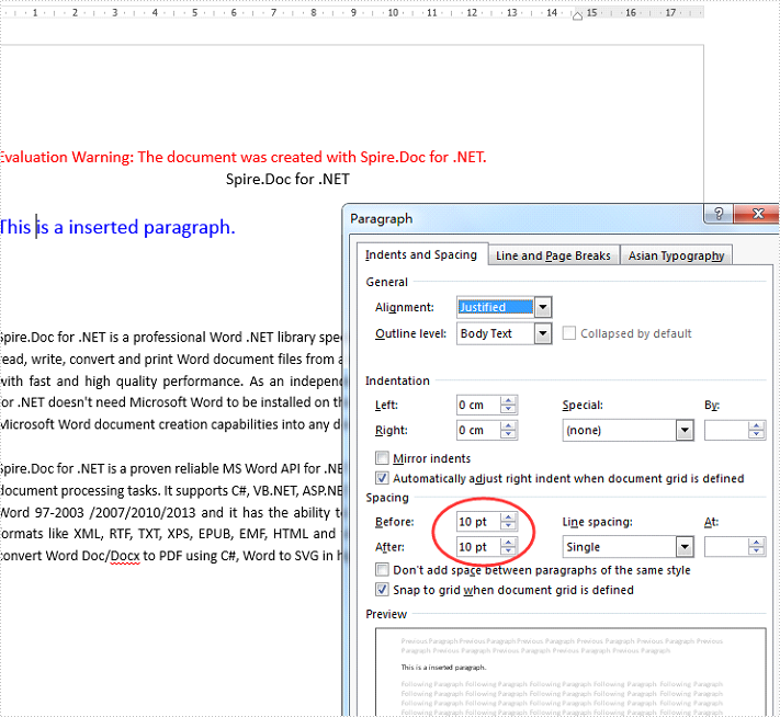 How to set the spacing before and after the paragraph in C#