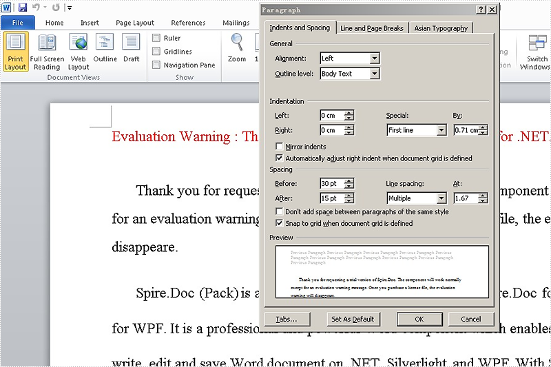 Set Spacing of Paragraphs in word document