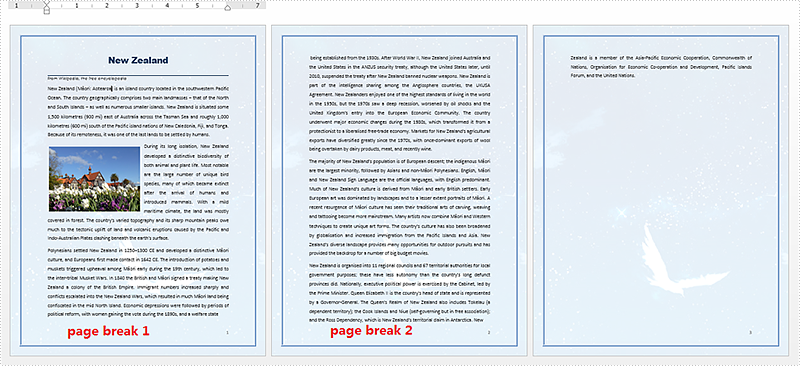 How to split a word document by page break in C#