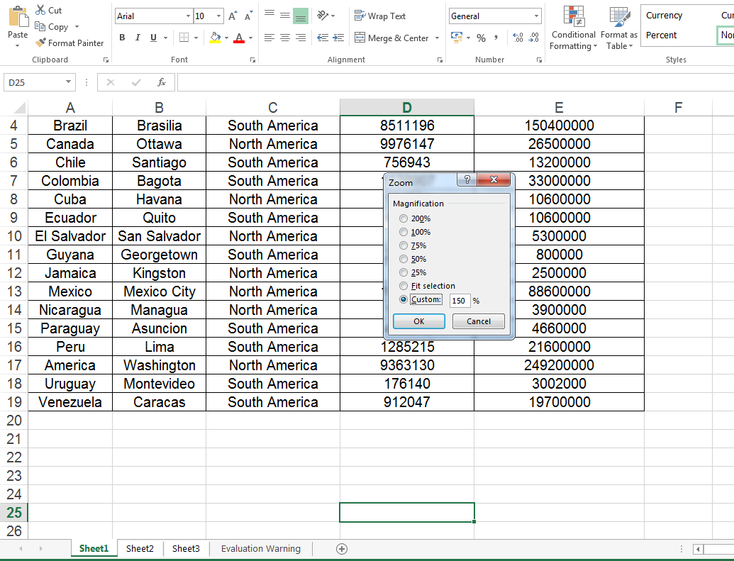 Java set zoom factor on Excel worksheet