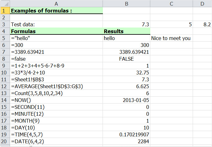 Add Excel Formulas