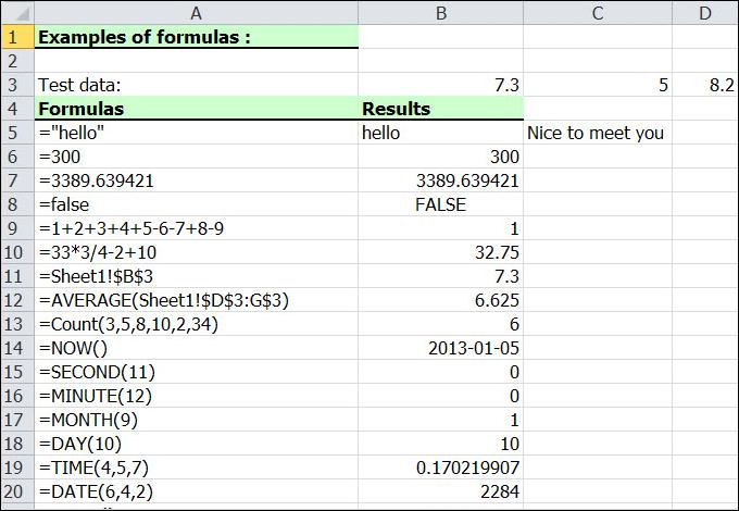 Add Excel Formulas