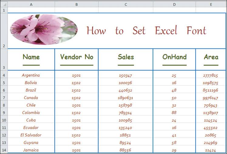 Set Excel Cell Font