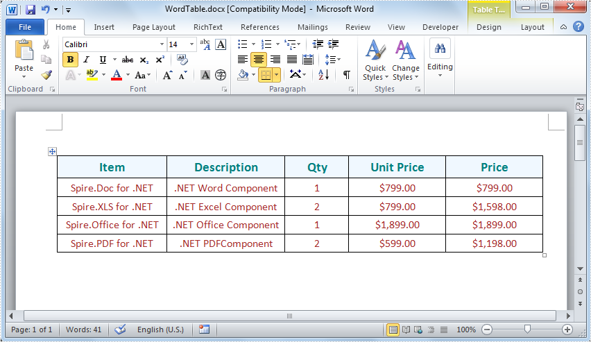 Create word table in c vb net for Table design on word