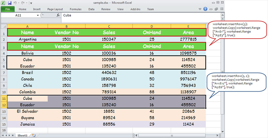 Insert Excel Row or Rows in C#, VB NET