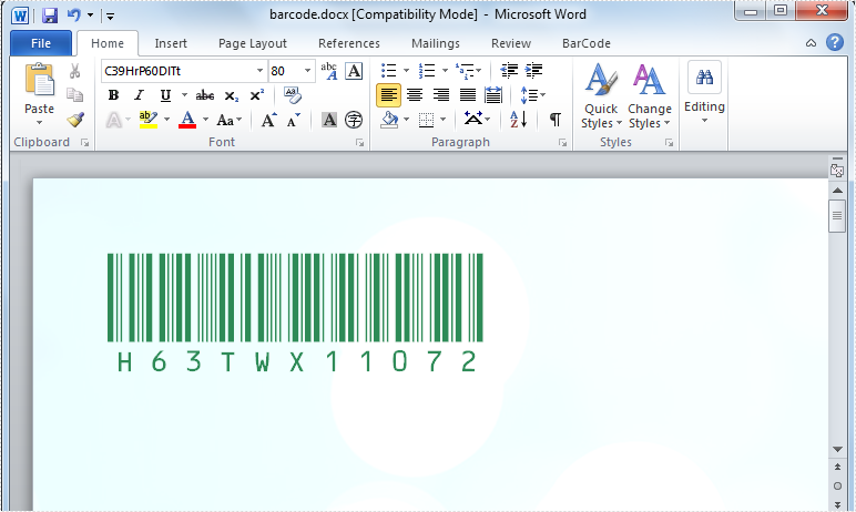 Create Word Barcode
