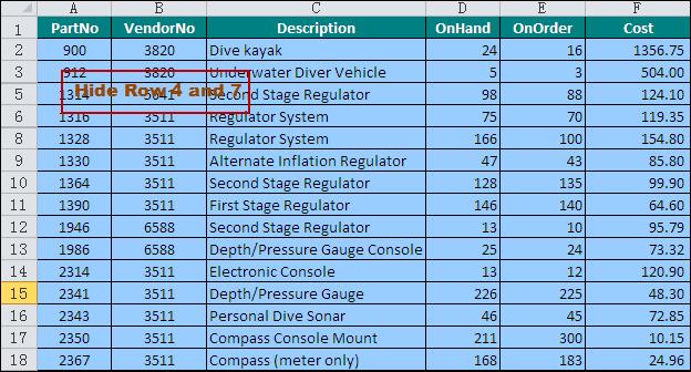 Hide Worksheet Row in Excel in C#, VB.NET