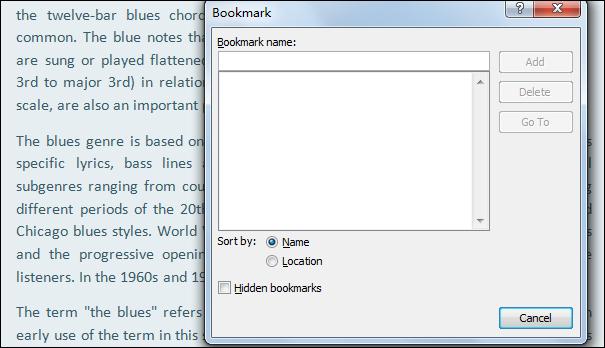 Remove Word Bookmark