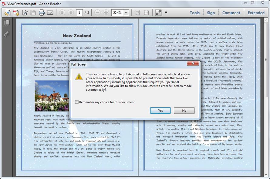 Set PDF View Preference