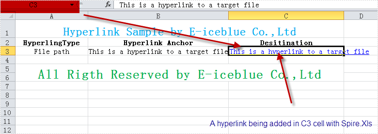 Add Excel Hyperlink to a File